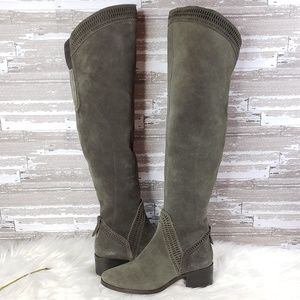Vince Camuto Over The Knee Green Dye Cut Boots